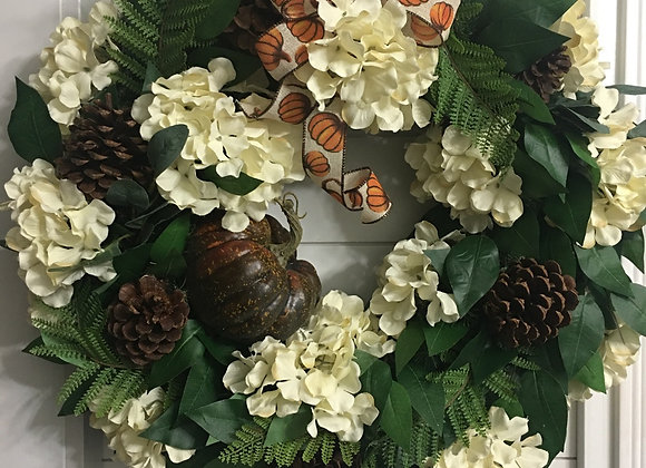 Fall Hydrangeas, pine cones and pumpkin evergreen wreath