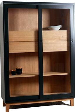 inaline m beldesign vitrine highboard vitus mit schiebet ren. Black Bedroom Furniture Sets. Home Design Ideas