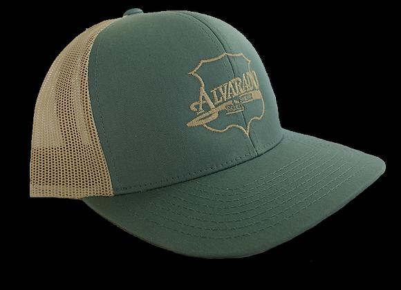 Smoke Blue/ Beige ARS Logo Snapback Hat w/ Beige Stitch