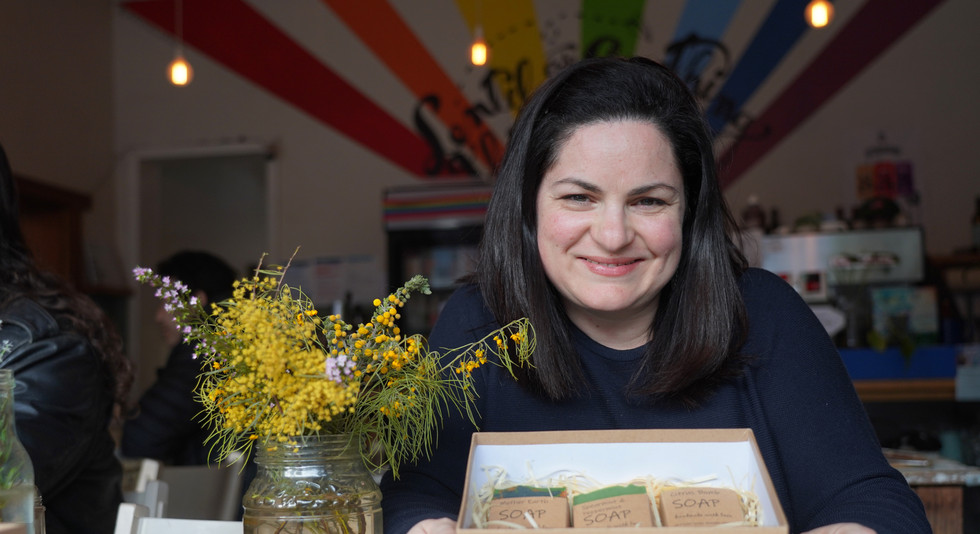 Nadia with her hanmade soaps