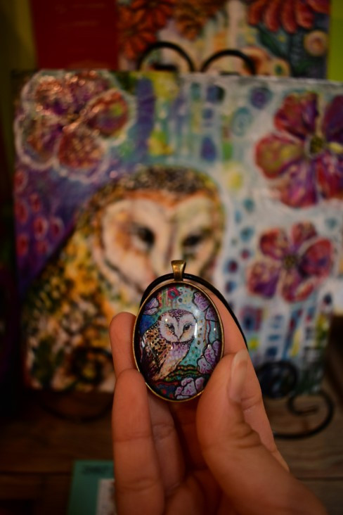 Painting and artwork in necklace by Cheryle Bannon