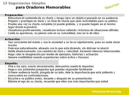 RESUMEN: 15 Sugerencias simples, para oradores memorables
