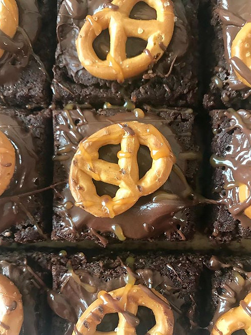 SALTED PRETZEL AND CARAMEL BROWNIES