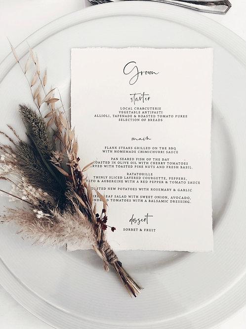 Personalised hand torn menu