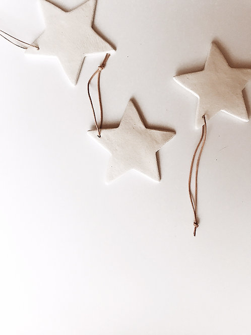 White Clay Star Decorations   (Large - Pack Of 3)