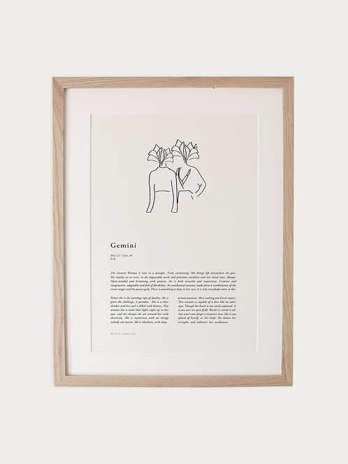 Sunday Lane Gemini Woman Zodiac Print