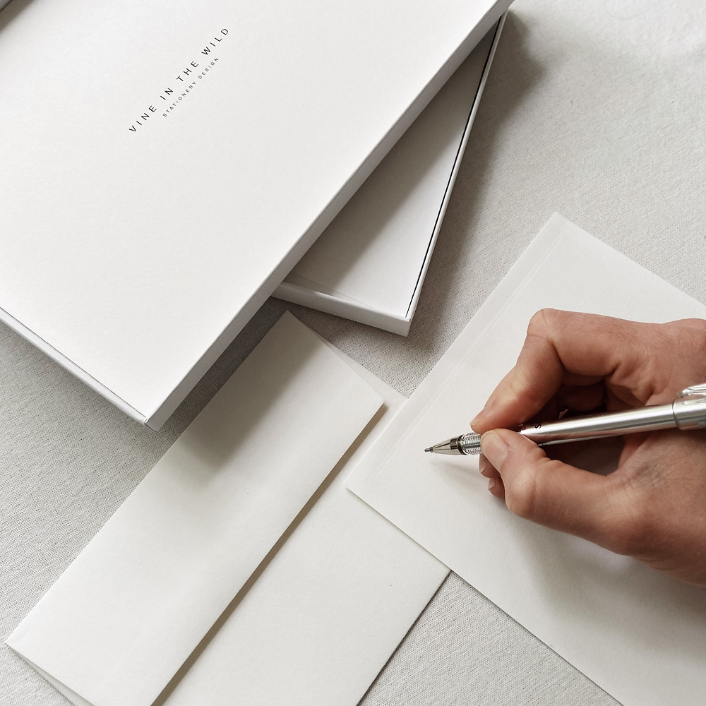 Vine In The Wild luxury letter writing stationery. Includes blind pressed paper, envelopes, and notecards