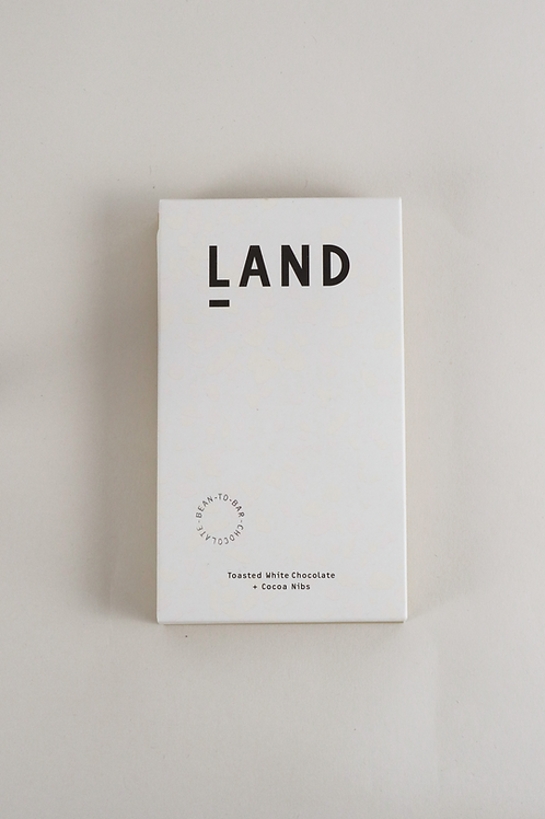 Land 38% Toasted White Chocolate with Cocoa Nibs - 60g Bar