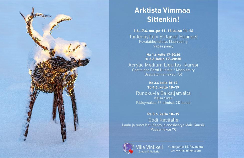 Taide- ja kulttuuritapahtumia Villa Vinkkelissä Arktista Vimmaa -kulttuuriviikolla