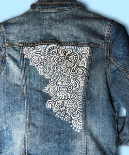REMIX Hand painted jean jacket detail
