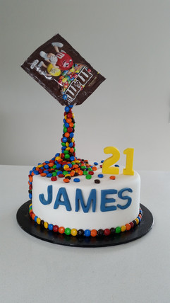 M & M's 21st Birthday Cake