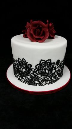 Rose & Lace Anniversary Cake