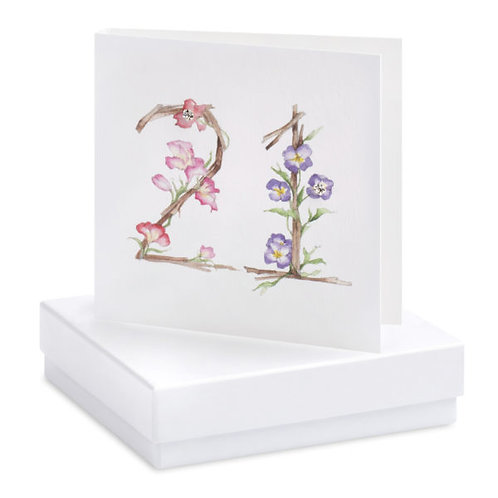 Floral 21st Birthday - Sterling Silver Earrings Boxed Card