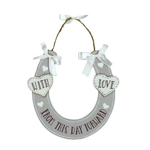 Wedding Day - With Love Horseshoe Plaque
