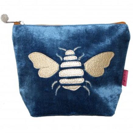 Lua - Gold Bee Velvet Cosmetic Pouch - Cerulian Blue