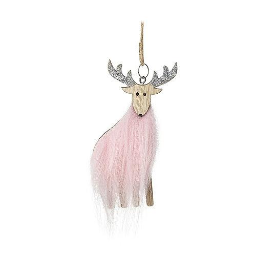 Pink Fur Deer Tree Decoration