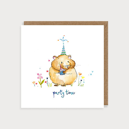 Birthday Card - Party Time Hamster