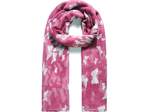 Burgundy With White Butterfly Print Scarf