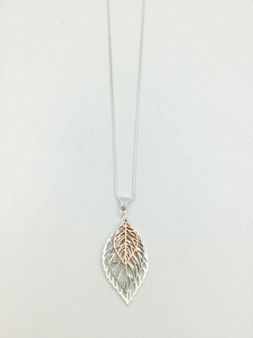Tri Coloured Leaf - Long Necklace