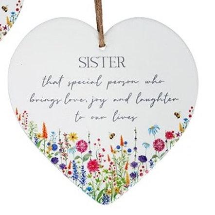 Spring Wildflower Sister Ceramic Heart