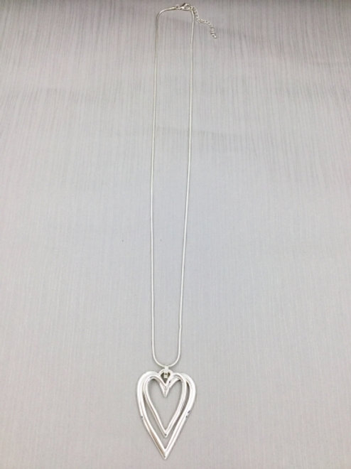 Silver Double Hearts - Long Necklace