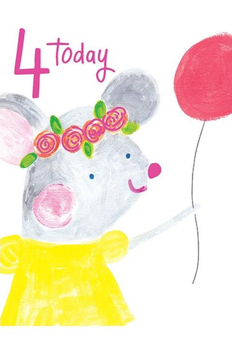 4th Birthday Card - Girl