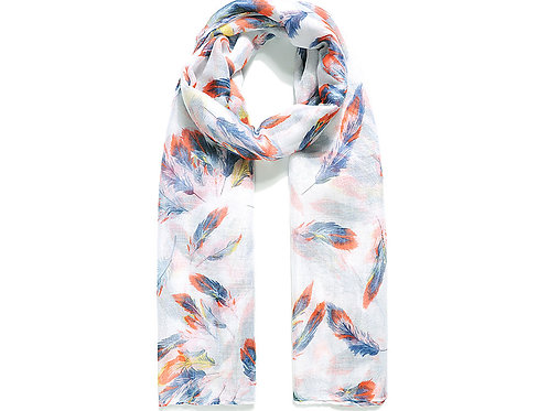 White Scattered Feather Print Scarf