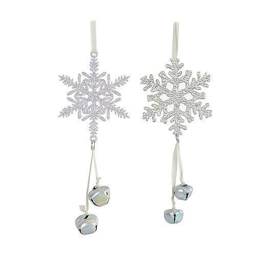 Set of 2 Pearlescent Snowflake Hangers
