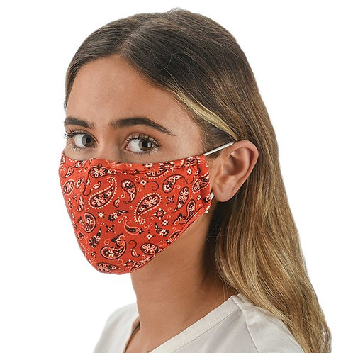 Snoozies Triple Layer Face Covering - Red Bandana Print
