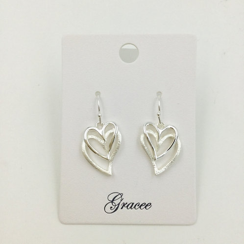 Silver Double Hearts - Earrings