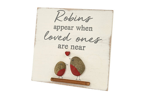 'Robins Appear' Pebble Plaque