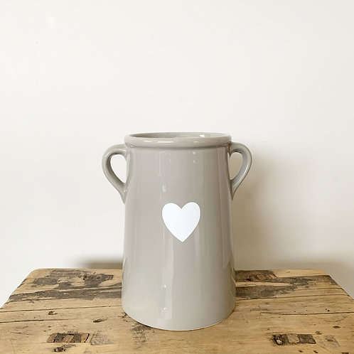 White Heart Grey Vase - 17cm
