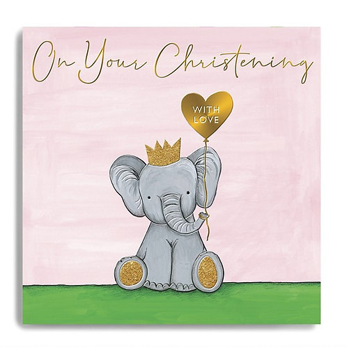 On Your Christening - Elephant Card (Pink)