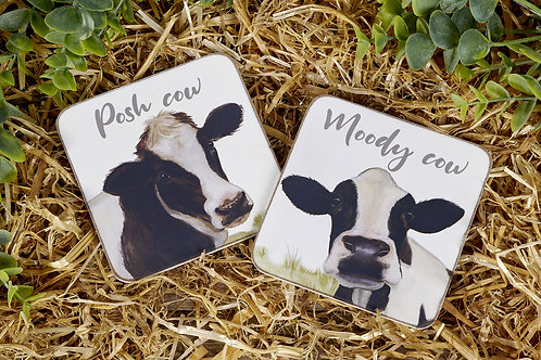 Cow Set of 2 Coasters