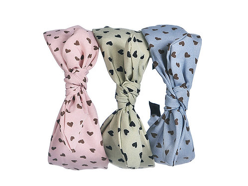 Pastel Heart Printed Bow Headband - Light Blue/Pink/ or Green