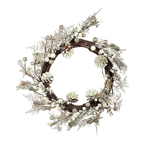 White Berry Glitter Leaf & Pine Cone Wreath