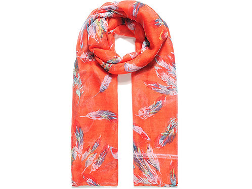Orange Scattered Feather Print Scarf