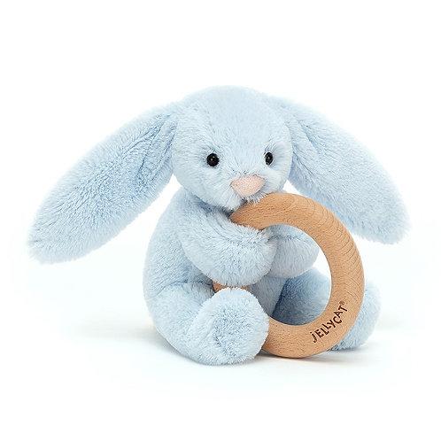Jellycat - Bashful Blue Bunny Wooden Ring Toy