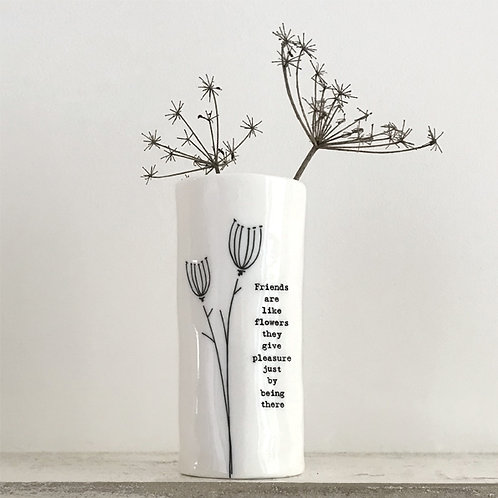 East Of India - 'Friends Are Like Flowers' Porcelain Vase