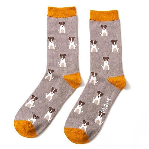 Mr Heron Men's Bamboo Socks - Jack Russell Grey
