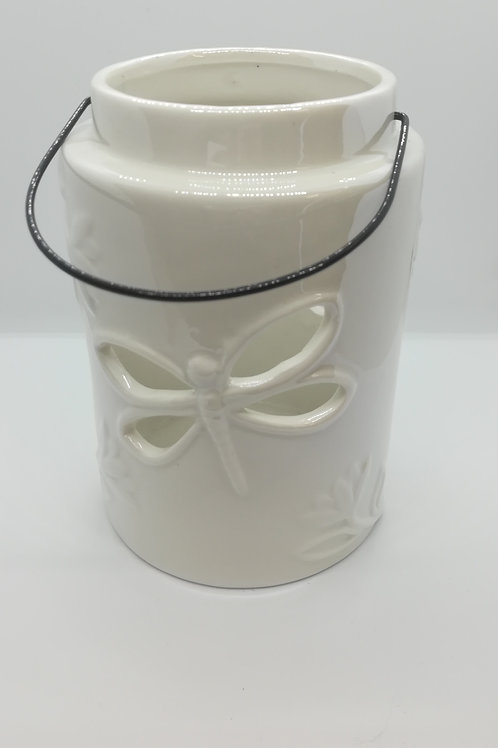 White Ceramic Dragonfly Cut Out Lantern