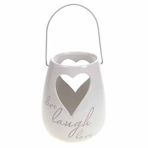'Live Laugh Love' Ceramic Heart Lantern