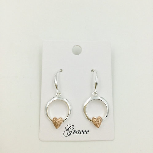 Silver With Rose Gold Heart - Earrings