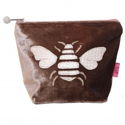 Lua - Gold Bee Velvet Cosmetic Pouch - Mink