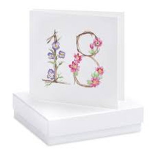 Floral 18th - Sterling Silver Earrings Boxed Card