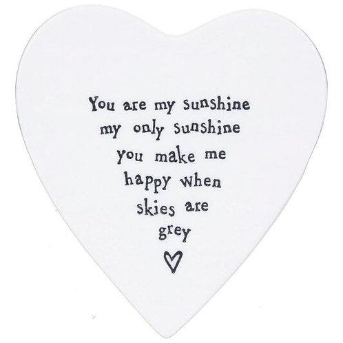 East Of India - 'You Are My Sunshine' Porcelain Coaster
