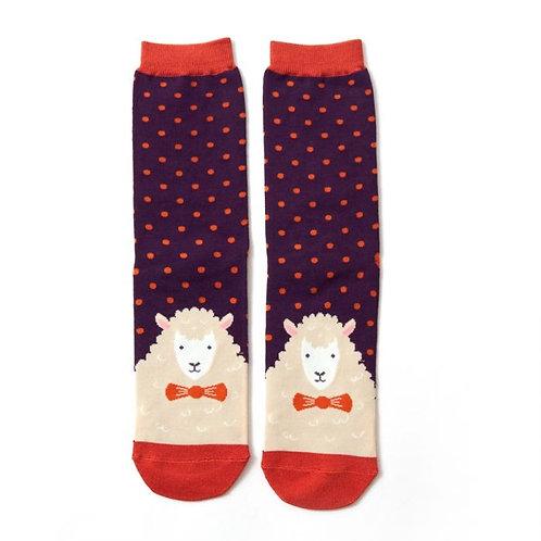 Mr Heron Men's Bamboo Socks - Sheep Purple
