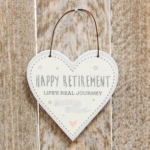 Happy Retirement Mini Heart Plaque