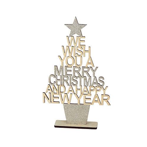 'We Wish You Merry Christmas' Glitter Tree