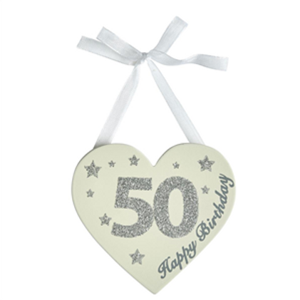 50th Birthday Glitter Heart